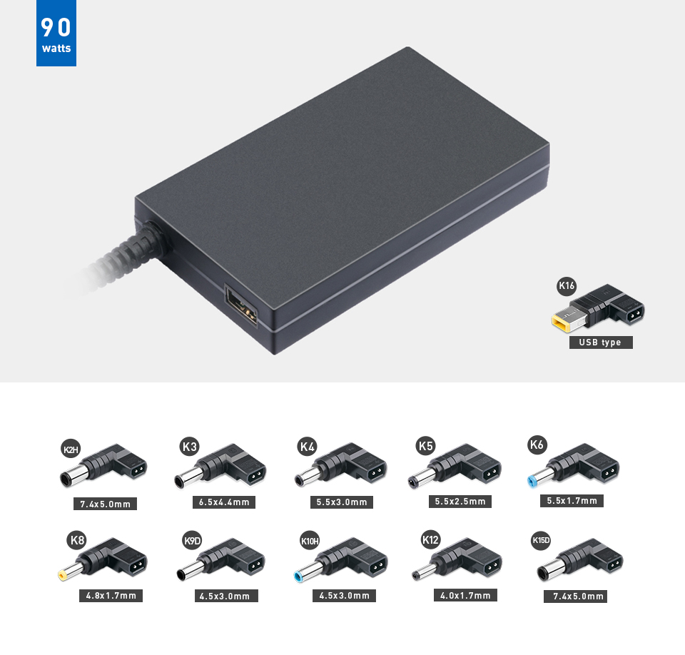 KFD® 100W Universal notebook Adapter mit USB 5V 2A Hafen